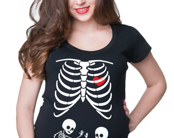 Skeleton Twins Maternity Top Halloween Costume Pregnancy Halloween Party T-Shirt