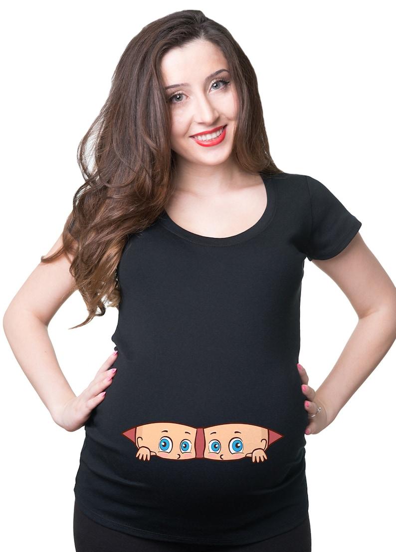 Regalo de camiseta de maternidad gemelos para futura mamá bebé  736009b7e3fac