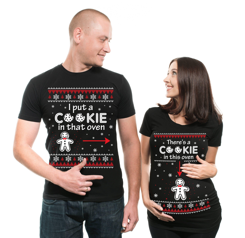 b5f783bff Christmas Maternity T-shirts Matching Cookie Pregnancy Shirts | Etsy