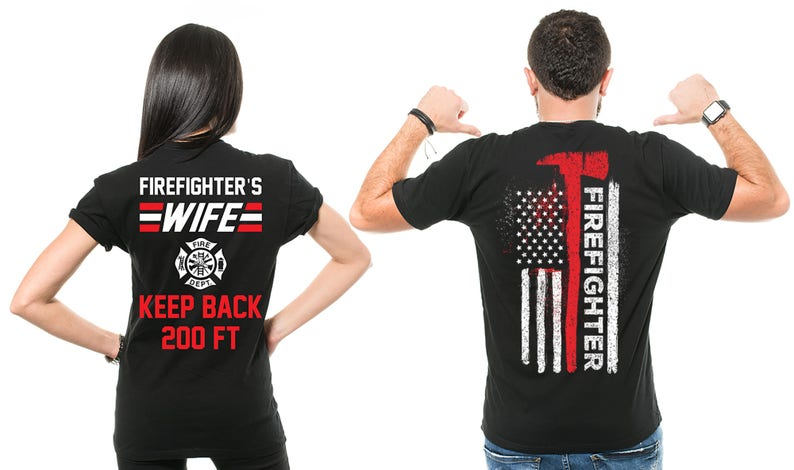 0c2aa0c3b Firefighter T-shirts Couple Firefighter Wife T-Shirts | Etsy