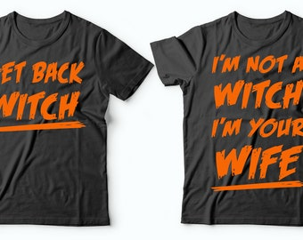 Halloween Couple Costumes Funny Witch Halloween Shirt Husband Wife Halloween Costumes Couples Halloween Costumes T-shirts