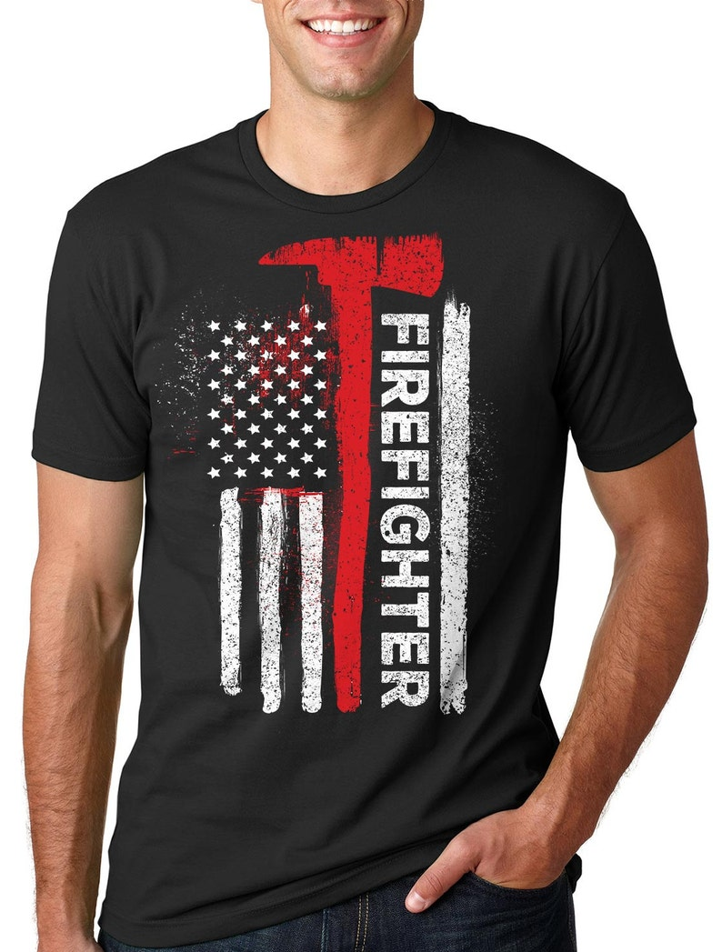 1185c054945b3 Bandera de camiseta American USA bombero bombero americano