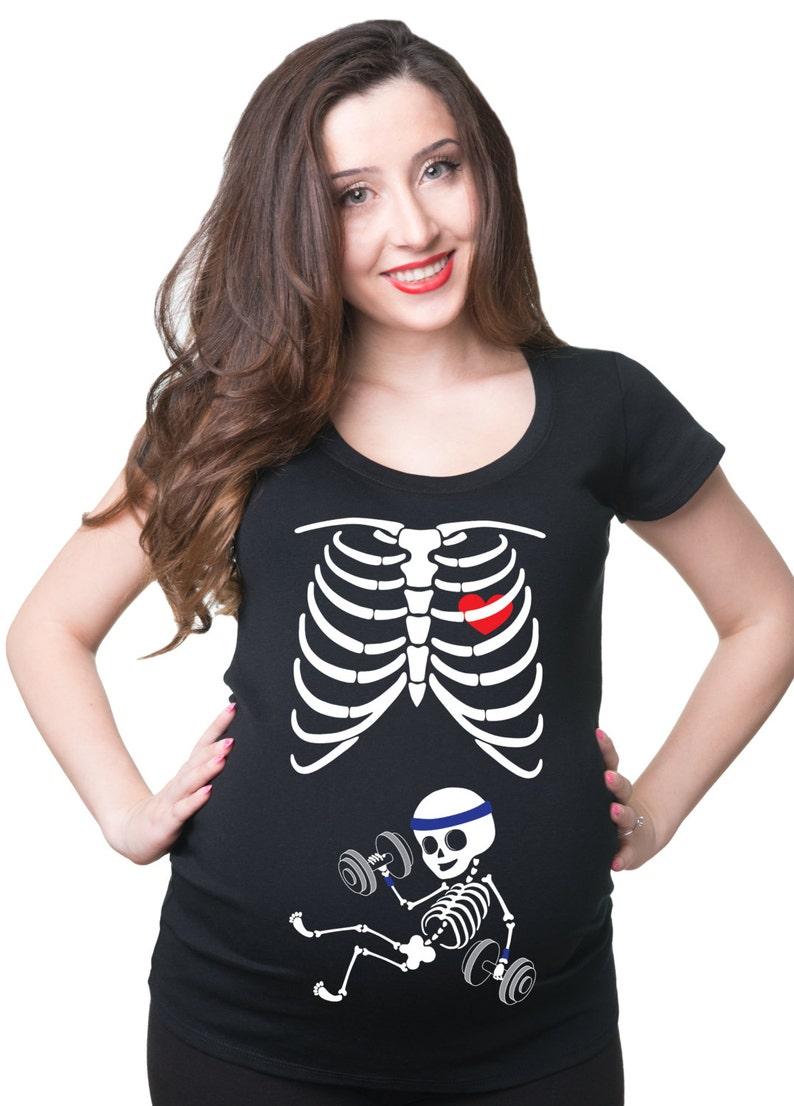 ff0038af97235 Skeleton Gym Boy Halloween Costume Maternity T-Shirt Pregnancy | Etsy