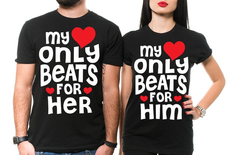 ebbf6bba9 Couple Matching T-shirts My Heart Beats Only For Stylish | Etsy