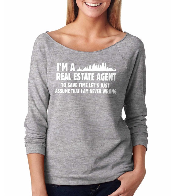 Real Estate Agent Raglan 3 4 Sleeve Top Funny Gift For