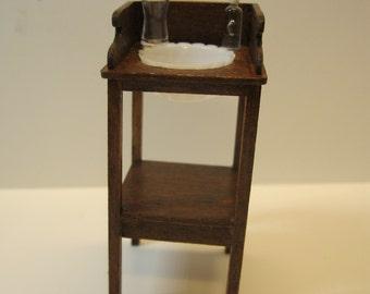 1:12 Miniatur Waschtisch mit Schüssel Puppenhaus Miniatur Mahaghoni