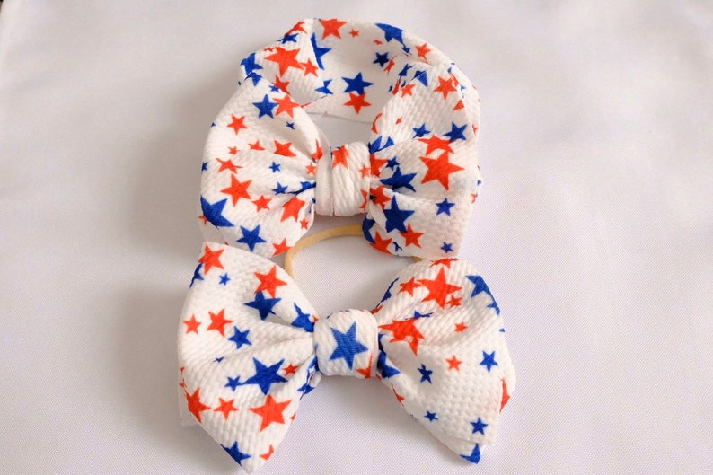 Red White and Blue Stars Bow Baby Newborn 4th of July Bows Messy Bows Fabric Bow Toddler Big Bow Headband Big Bow headwrap