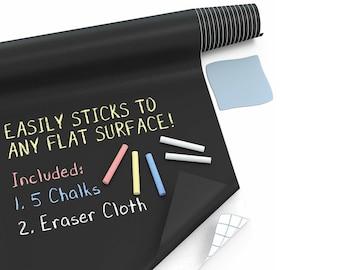 Kassa Large Chalkboard Contact Paper Roll (8 Ft) - 5 Chalks Included - Chalk Board Paint Alternative - Adhesive Blackboard Wall Decal Vinyl