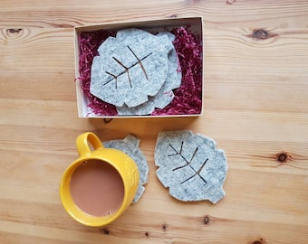 Scandinavian Grey Felt & Cork Leaf Drink Coasters X4