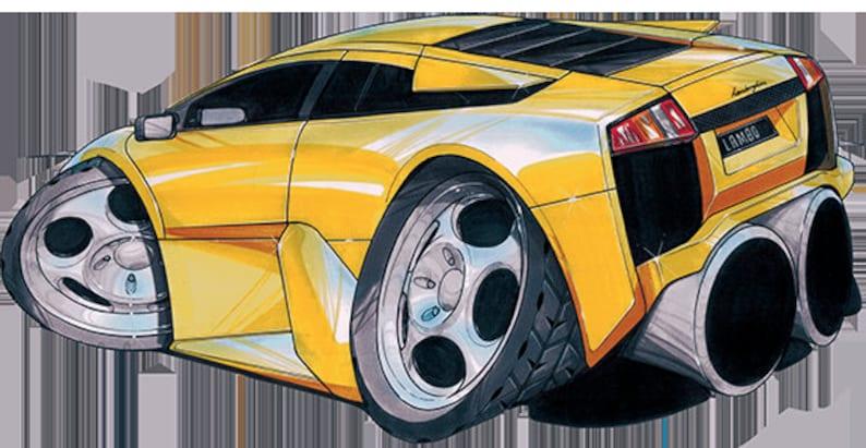 Lamborghini Murcielago Yellow Koolart T Shirt For Men Etsy