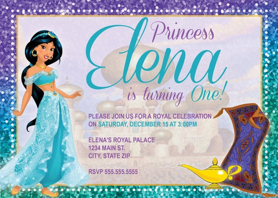 DIGITAL Princess Jasmine Birthday Party Invitation