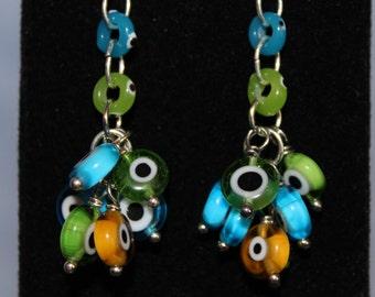 Lampwork Glass Cluster Earrings
