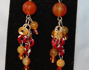 Agate and Glass Chain Earrings