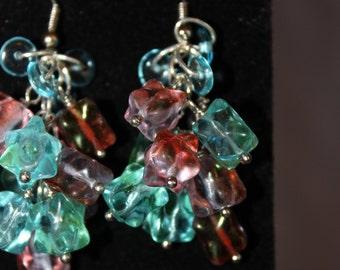 Funky Glass Cluster Earrings