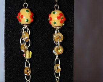 Cheery Yellow Dangle Earrings