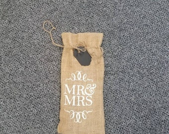 Burlap wine bag with chalk board tag