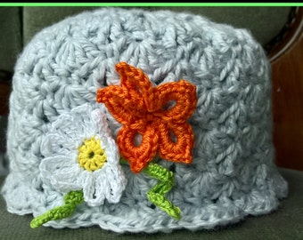 Baby Girl Beanie Shell Hat with flower