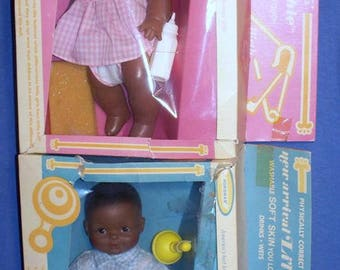 Horsman's Controversial Anatomically Correct Twins Li'l David and Li'l Ruthie Mint in Box Black African American Dolls