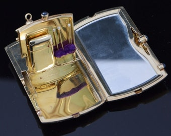 6169a5687 14K Yellow Gold Art Deco Compact All Over Weave, 4 Oval Sapphires