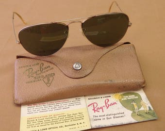 e36456515f Vintage Ray Ban Aviator Gold Filled Sunglasses with Original Case and  Paperwork