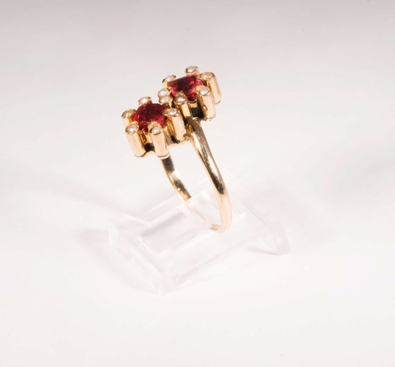 Vintage turn of century rosegold synthetic ruby … - image 3