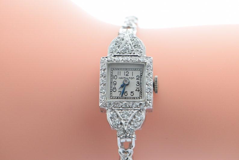 Platinum Ladies Hamilton Ladies Watch With 14k White Gold Diamond Band
