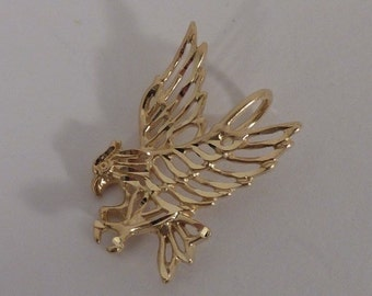 14K Yellow Gold Filigree Eagle Pendant
