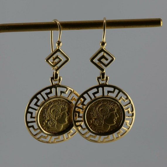 14K Yellow Gold Greek Coin Center with Greek Key D