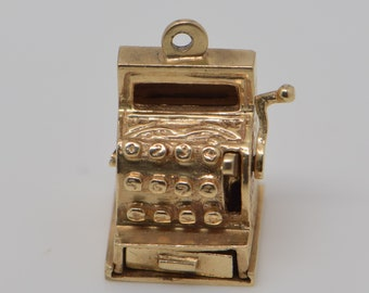 14K Yellow Gold Cash Register Charm with Working Drawer, Circa 1950