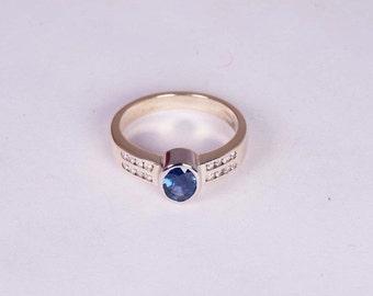 14K Yellow Gold Ceylon Sapphire and Diamond Ring, size 6.75