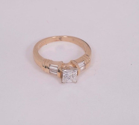 14K Yellow Gold Princess Cut Diamond Engagement Ring 3 4 ct.  8a80829fd44d