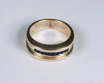 14k Yellow and White Gold Mens Sapphire Band/Ring, Size 9.25