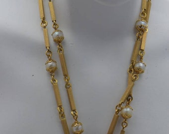 "18K Yellow Gold Square Rod and Pearl Set Linked Necklace 22"" Long"