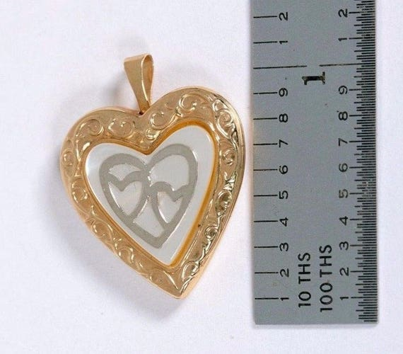 14K Yellow Gold Heart Shaped Locket with Mother o… - image 2