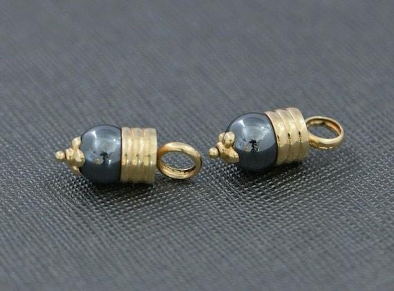 Vintage 14K Yellow Gold and Black Hematite Bead Dangle Bar Pierced Earrings 6.5 Grams #d102