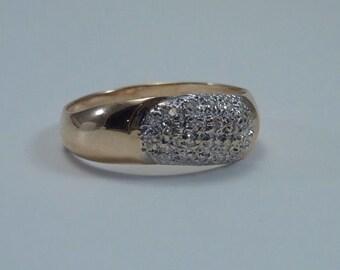14K Yellow Gold Diamond Chip Ring size 6