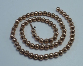 14K Yellow Gold 18 inch, Vintage Beaded Necklace, 12.4 grams
