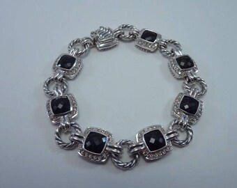 David Yurman sterling Silver Black Onyx and Diamond Bracelet 7.5 Inches