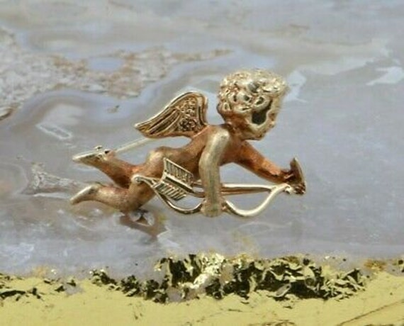 14K Yellow Gold Cupid Pin Winged Cupid with Bow an