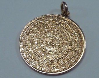 "14K Yellow Gold ""Aztec Calendar"" Highly Detailed Large Pendant"