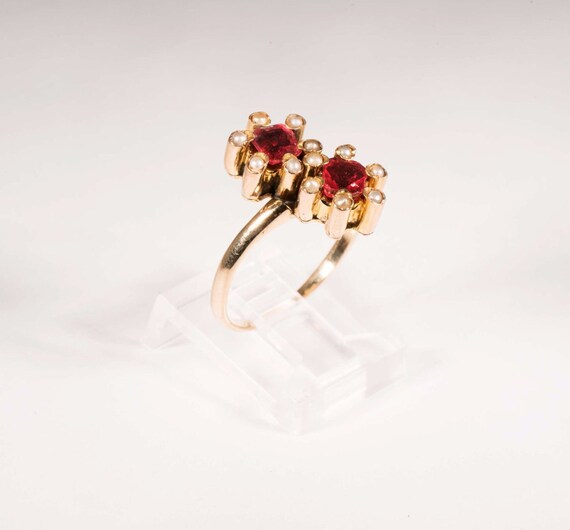Vintage turn of century rosegold synthetic ruby … - image 2