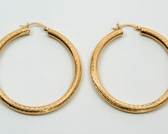 14K Yellow Gold Large Hoop Earrings with Pattern