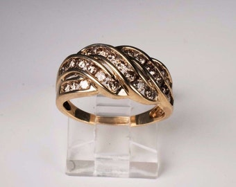 10K Yellow Gold Champagne Colored Diamond Ring, Size 7.25