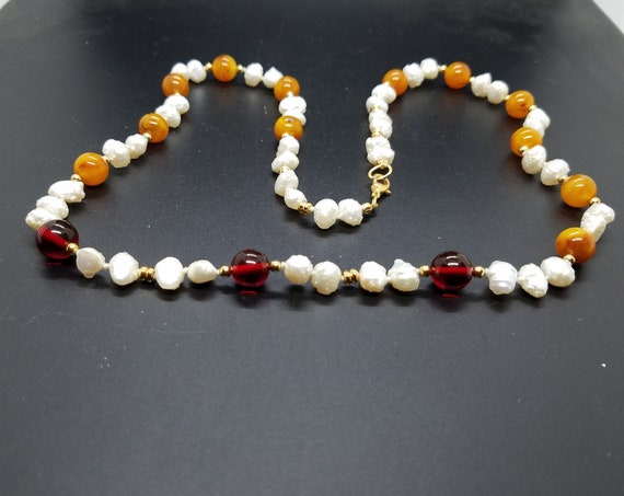 Amber and Baroque Fresh-Water Pearls
