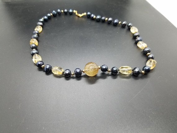 Citrine & Black Fresh Water Pearls with Rutilated Quartz