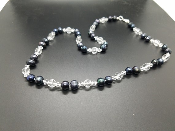 Black Fresh Water Pearls and Crystal Glass