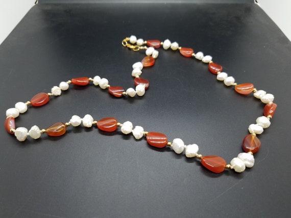 Carnelian and Baroque Fresh-Water Pearls