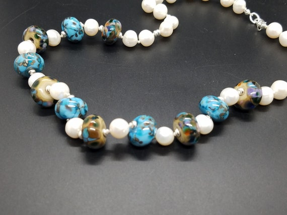 Turquoise and Brown Torch-Work Glass and Fresh-Water Pearls