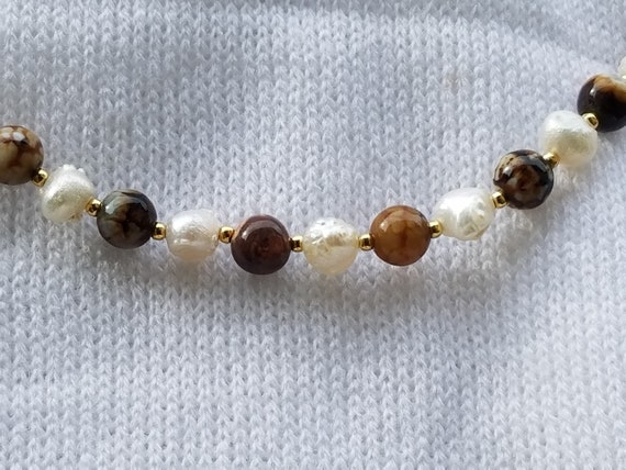 Chocolate Crackle Agate and Baroque Fresh Water Pearls