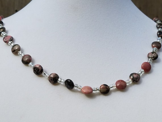 Rhodocrosite and Glass Seed Bead necklace